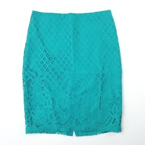 NWT Loft Turquoise Crochet Pencil Skirt Size 6